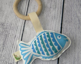 Maple Wood Ring & Organic Cotton FISH Baby Teething Toy Rattle Eco Friendly 5 colours