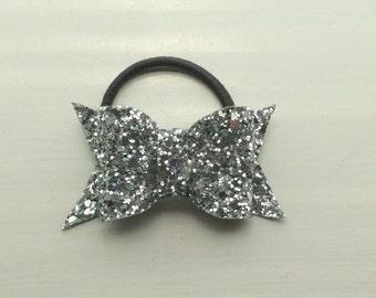 High Glitter/Crystal Bow Hair Bobble, Band, Elastic,Ponytail Holder,