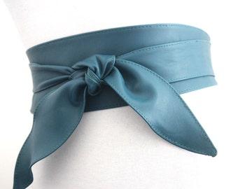 Teal Leather Obi Belt Tulip Tie   Teal Waist Corset Belt   Leather tie belt   Real Leather Belt  Handmade Belt