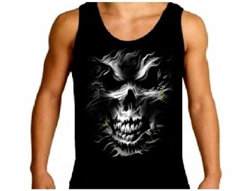 Silver Skull Evil Gothic Mens Tank Top T-Shirt