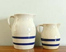 Vintage Pottery Pair Pitchers Roseville Blue White RRP Co. Pitchers Nautical Coastal Decor