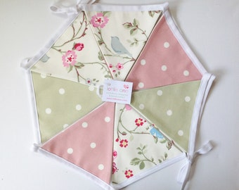 Bird Trail Bunting, Dotty Bunting, Pastel Bunting, Fabric Bunting, Lined Bunting, Decoration