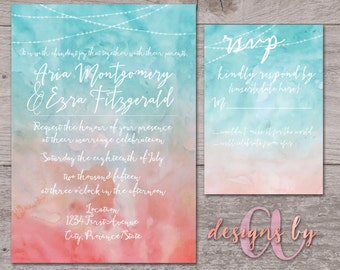Watercolour with Lights Wedding Invitation & RSVP Card Set