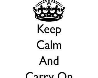 Keep Calm And Carry On - Wall Art Stencil in reusable Mylar, wall art, small to large stencils up to 19.5 x 27.5 inches.
