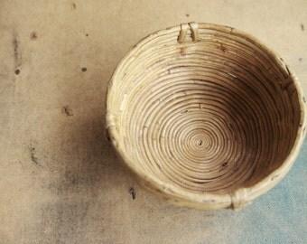 Vintage rattan wicker basket storage, storage vintage braided rattan basket, small, rustic home decor.