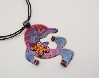Stylized dolphin pendant - Copper enameled necklace in purple and blue color