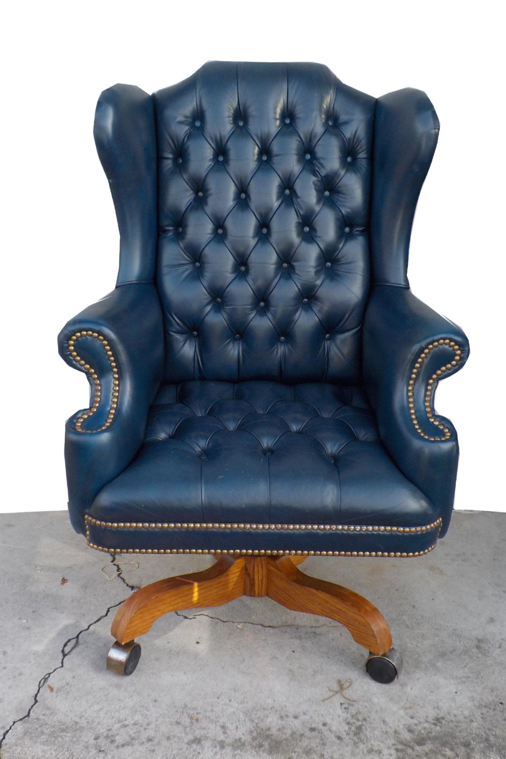 Tufted Leather Wingback Chair ... Tufted Blue Leather Chesterfield Wingback Executive Office Chair