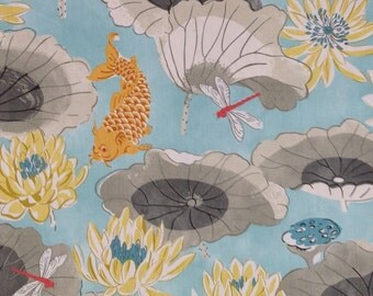 Koi Pond  -  Chinoiserie  -  Drapery Fabric By The Yard - Pillow Cover Fabric