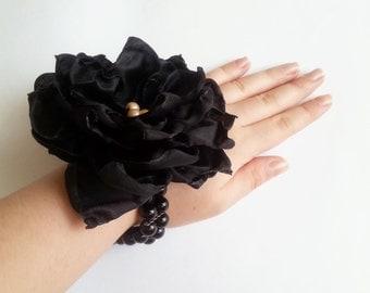Wrist Corsage, Black chiffon satin flower, bridesmaid Corsage hand made silk flower black beads bracelet