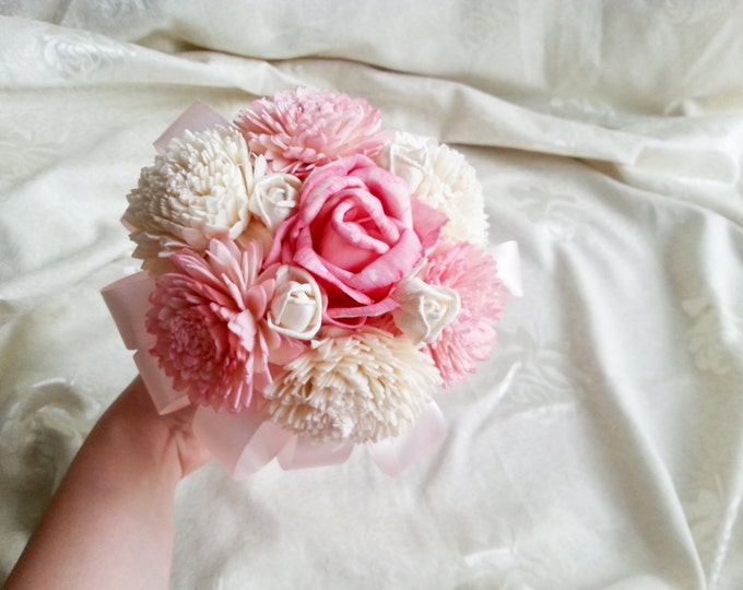 Small sola flowers pink bouquet wedding bridesmaid flower girl wand ivory creme satin ribbon rose zinnia toss bouquet