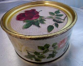 Vintage 1940s SWALLOWS TIN Roses President Herbert Hoover Golden Emblem Cake Biscuit Kitchenalia