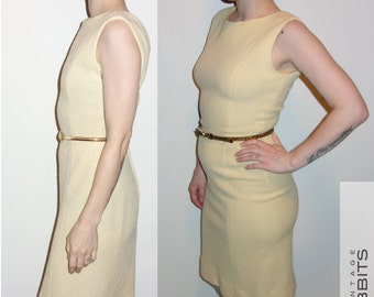 Vintage minimalist 60s XS-S cream yellow modest 2pc sleeveless wool bouclé dress suit with jacket pencil dress very Jackie-O conservative
