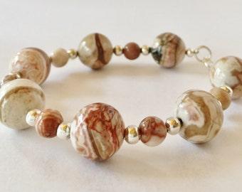 African Jasper Bracelet Brown Jasper Bracelet Gemstone Bracelet Beaded Bracelet African Jewelry Handmade Jewelry Gift for Her Xmas Gift
