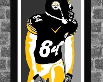 Pittsburgh Steelers Antonio Brown Portrait Sports Print Art 11x17