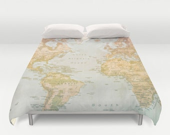 World map duvet cover, bedding, bed sheets, pastel color, pastel world map, bedroom, king size, twin, full size, queen size, countries, map