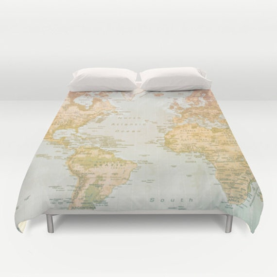 World map duvet cover bedding bed sheets pastel color - Drap housse king size ...
