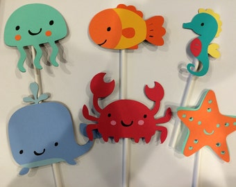 12 Boy Under The Sea Animal Cupcake Toppers