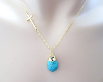 Turquoise, Sideways, Cross, Personalized, Letter, Initial, Gold, Silver, Necklace, Modern, Bridesmaid, Birthday, Gift, Jewelry