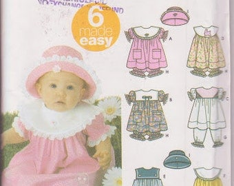 "Simplicity Pattern 5626 Infants Dress, Pantaloons, Panties  Sizes XXS to L, Hat sizes S-17"", M-18"", L-19"""