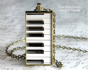 Piano Keys Pendant, Musical instrument, Piano Keys, Black and White, Photo Pendant, Gift for music Lover, Glass Pendant Necklace, Accessory