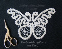 Batterfly 1 in style battenberg lace. FSL. Embroidery design. Freestanding Battenberg Lace motif. Hoop 5x7.