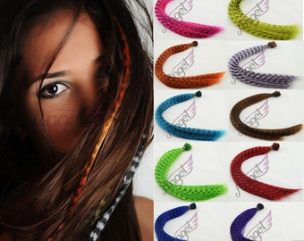 """100s 20"""" 0.5g/ strand Synthetic fiber Multicolor Grizzly Feather hair extensions"""