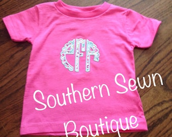 Toddler Scallop Monogrammed Short Sleeve Appliqué T-Shirt