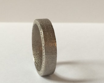 6mm Mens Nickel Coated Steel Wedding Band with Comfort Fit, Rustic Looking Wedding Ring in Tough Silver Tone Steel