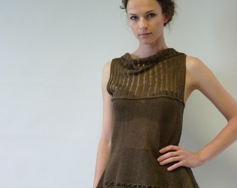 Sale. Feminine transparent brown top, S size, linen. Handmade, ideal for summer. Stylish and very comfy. Only one sample.