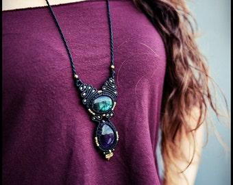 Necklace with AMETHYST and LABRADORITE macramé. Tribal necklace macrame. Gypsy jewelry. Boho. Ethnic