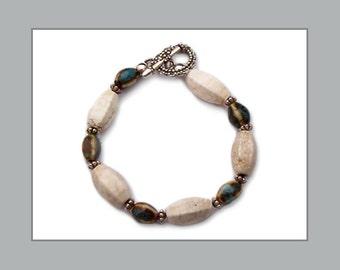 "Blue Ceramic and Beige Riverstone ""Pebbles In A Stream"" Bracelet"