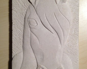 Horse Relief Carving Wall Plaque