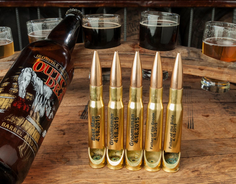 groomsmen gifts 6 pack of custom 50 caliber bottle openers. Black Bedroom Furniture Sets. Home Design Ideas