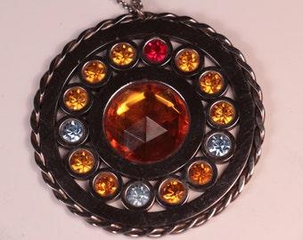 Large Rhinestone Medallion Necklace