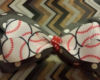 Baseball Hair Bow, grey with white polka dots