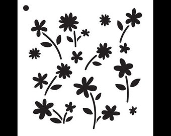 "Flower Power - Pattern Stencil - 6"" x 6"" - SKU: STCL812_1"