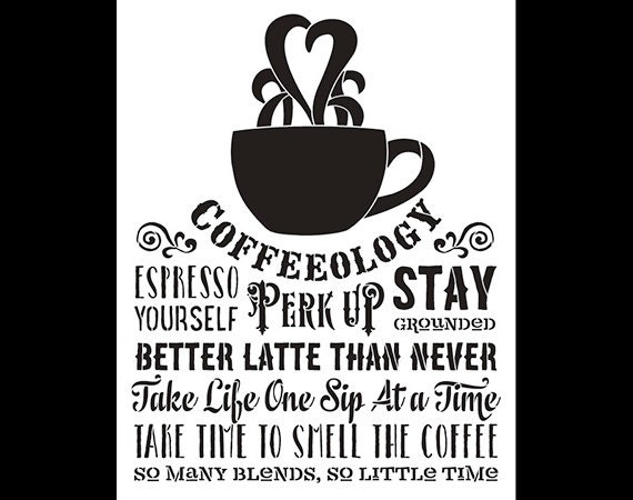 Coffeeology Word Art Stencil - Select Size - STCL814 by StudioR12