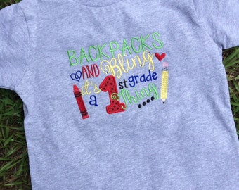 Choose your grade... Backpacks and Bling! Applique t-shirt