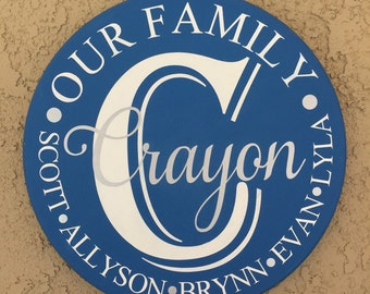 "18"" Round family name plaque"