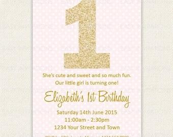First Birthday Invitation Gold Pink Dusk Polkadot Polka Striped Printable Digital One Girl Glitter Effect