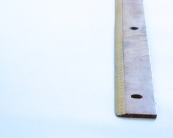 Vintage French Wooden Ruler-Yellow strip-50 cm-