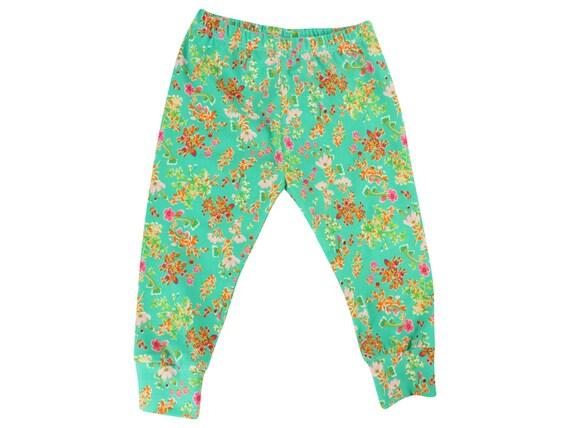 Green Floral Baby Leggings FlowerToddler Leggings Girl Leggings Floral Leggings Girl Baby Pants Floral Baby Headband Floral Baby Gift Green