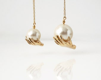 It's a Small World After All - Mini Hands Pearl Necklace - Brass Edition by TO+WN DESIGN