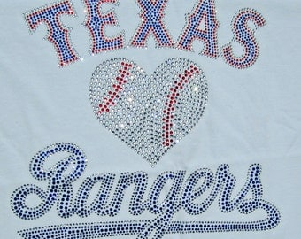 Texas Rangers Baseball Rhinestone bling on a white tshirt