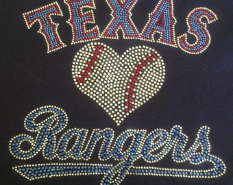 Texas Rangers Baseball Rhinestone bling on a navy vneck tshirt