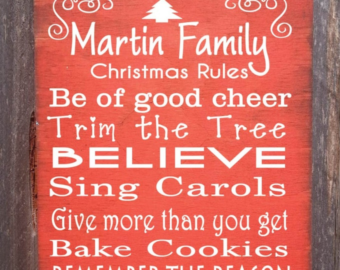 Christmas decoration, Christmas decor, Christmas sign, Christmas rules, Christmas traditions, Personalized Christmas sign, 58