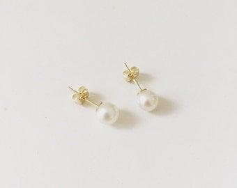 9ct Gold Pearl 5mm Cultured Fresh Water Pearl Stud Earrings 9k