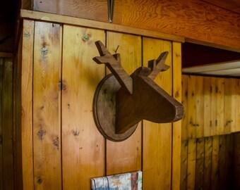Wooden Deer Head Taxidermy