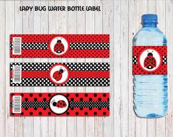 Ladybug water bottle label, ladybug label,Ladybug Party, Ladybug Birthday Favors, Party Supplies, Instant Download