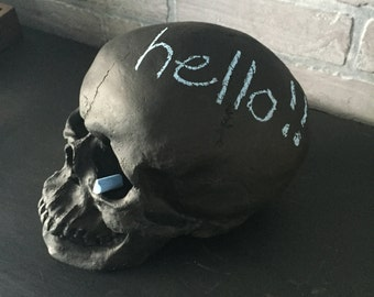 CHALKBOARD Skull // XL Faux Human Skull // Centerpiece // Office Decor // Desk Accessories // Shelf Decor // Dorm Room // Halloween Decor